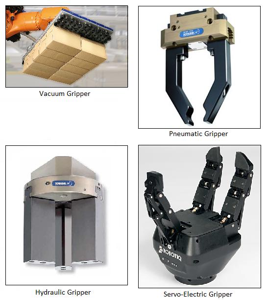 Gripper types, vacuum, pneumatic, hydraulic, servo-electric