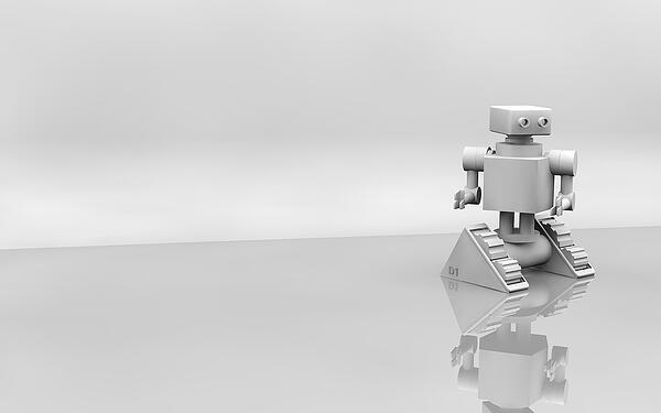 A-lonely-robot-with-a-gray-background