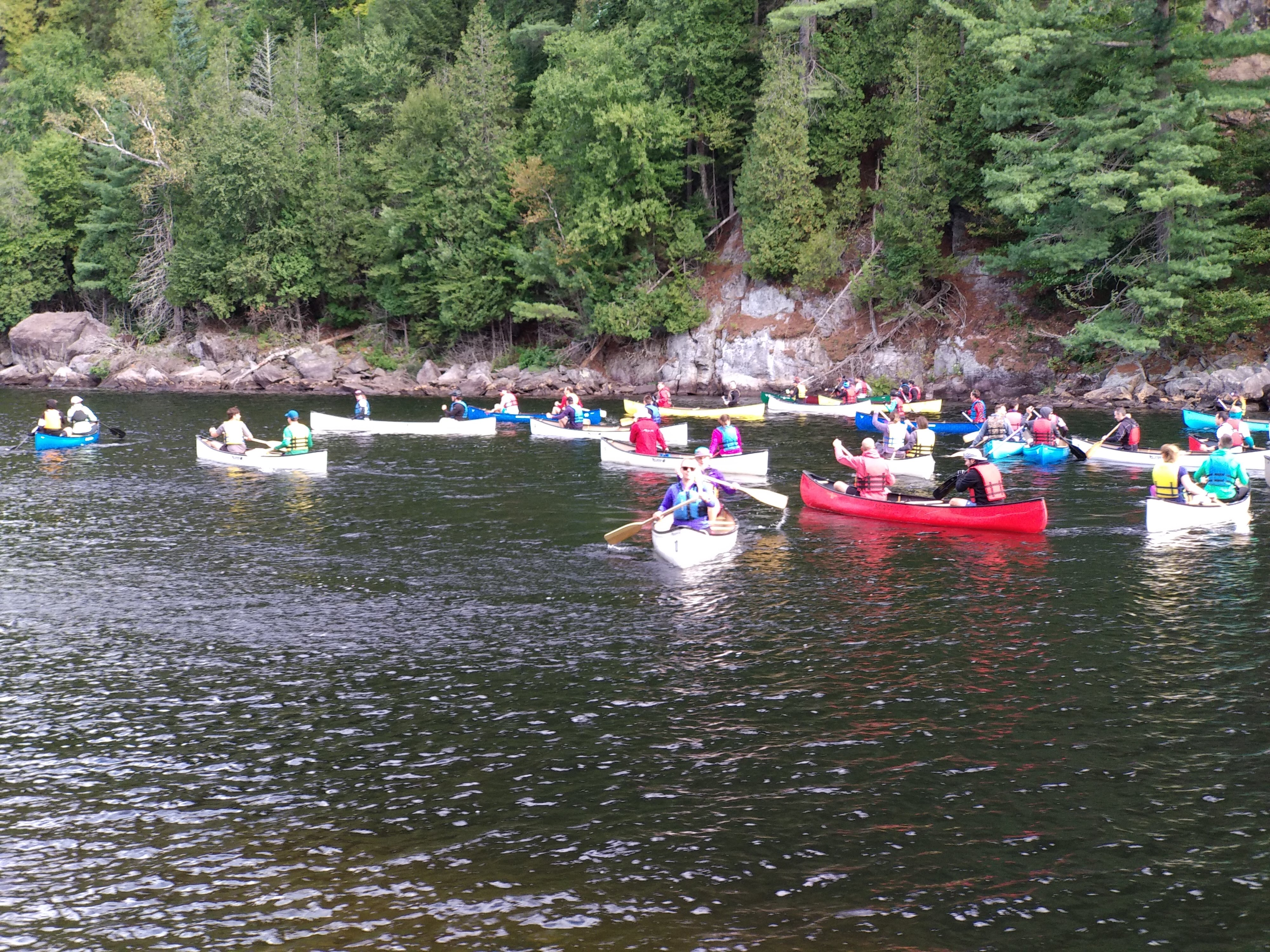 kayaks on river with several participants