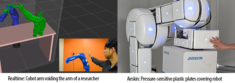 Cobot arm voiding the arm of a researcher