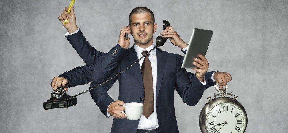 men multitasking