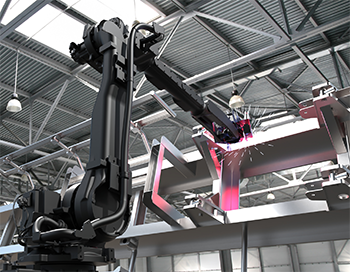 Industrial robot performing welding application