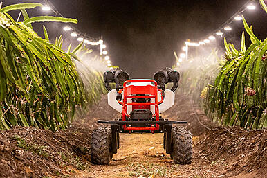 """Photo: XAG's """"all-electric, all-purpose"""" farm robot spraying crops"""